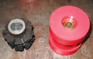 Worn bushing compared to a new polyurethane bushing